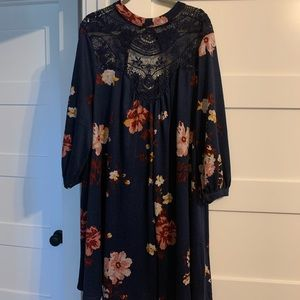 NWOT Navy Floral Dress with Lace